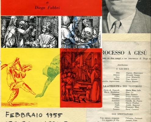 Foto sezione teatro Sergio Fantoni: Processo a Gesù di Diego Fabbri. Regia Orazio Costa. Con Roldano Lupi, G. Galletti, A. Mastrantoni, V. Fortunato. 1955