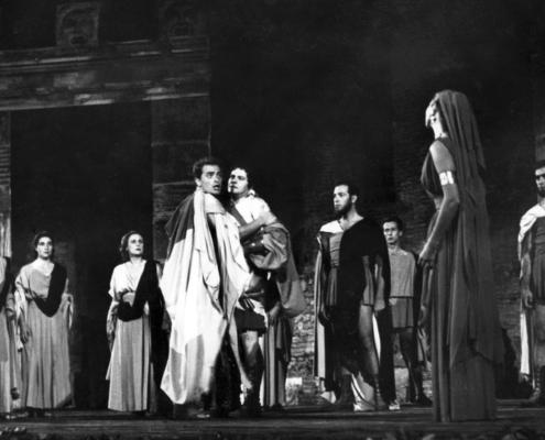 Alcesti di Euripide. Regia di G. Salvini. Con Olga Villi, Tino Buazzelli. 1956.
