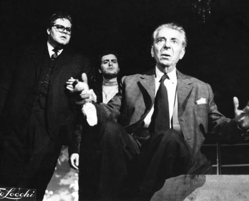 Veglia d'armi di D. Fabbri. Regia di Orazio Costa. Con Annibale Ninchi, Tino Buazzelli, Alessandro Sperlì, Aldo Silvani. 1956.
