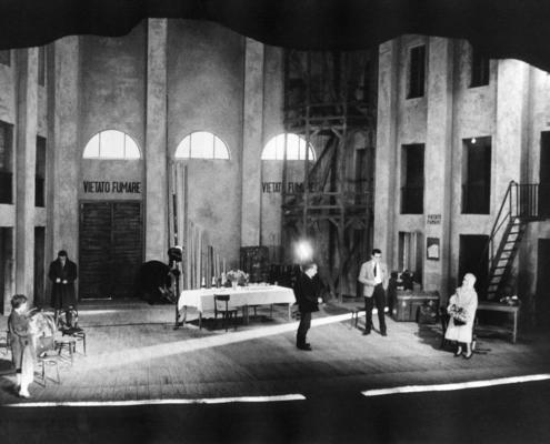 Figli d'arte di Diego Fabbri. Regia di Luchino Visconti. Compagnia Morelli-Stoppa. Con Ilaria Occhini, Corrado Pani, M