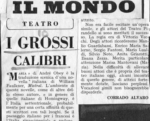 Foto sezione teatro Sergio Fantoni: 1951 Maria di A. Obey. Regia di Vittorio Vecchi. Con Marisa Mantovani, Manlio Guardabassi e Silvio Noto. 1951.
