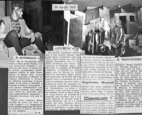 Foto sezione teatro Sergio Fantoni: 1953 Medea di Euripide. Regia di Luchino Visconti. Con Sara Ferrati, Memo Benassi, Cesare Fantoni, Elena da Venezia, Nora Ricci. 1953.